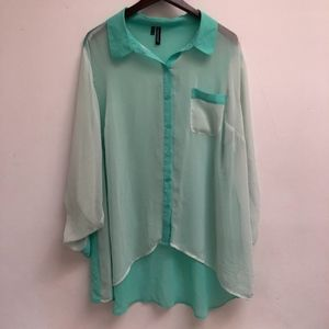Sheer Maurices long sleeve hi-low top size 2X